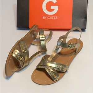 New Guess Gold Sandals Size 6.5